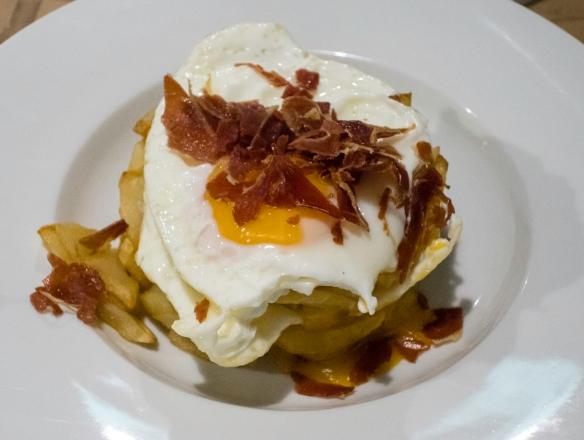 "Eggs, potatoes and chopped Iberico ham (""Papas Rotas""), Las 6 Calabazas (tapas), Las Palmas de Gran Canaria, Canary Islands"