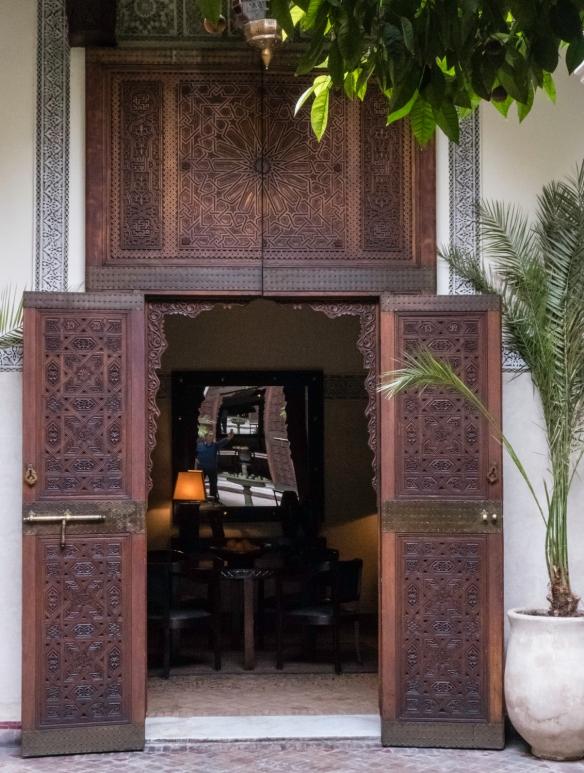 Elaborately carved doors with Moorish geometric designs, Villa des Orangers, Marrakech, Morocco