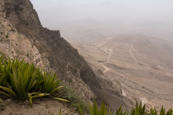From the summit of Monte Verde (Green Mountain), a view of the winding road to the summit from Mindelo; São Vicente, Cape Verde (Cabo Verde)