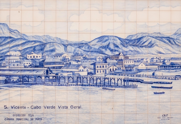 Local Art in Mindelo, São Vicente, Cape Verde (Cabo Verde) -- blue-and–white ceramic azulejos historic mural #2 – a general view of Mindelo from the early 1800s