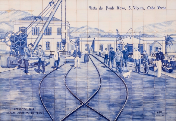 Local Art in Mindelo, São Vicente, Cape Verde (Cabo Verde) -- blue-and–white ceramic azulejos historic mural #4 – a view of the port (Ponte Novo) from the end of the 1800s