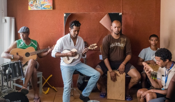 Luis Baptista and his friends playing morna in the downstairs of his atelier in Mindelo, São Vicente, Cape Verde (Cabo Verde)