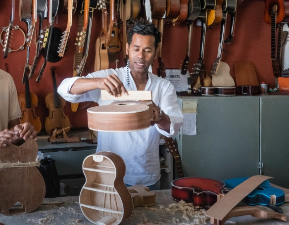 Luis Baptista, in his atelier, showed us how guitars are constructed from scratch, Mindelo, São Vicente, Cape Verde (Cabo Verde)