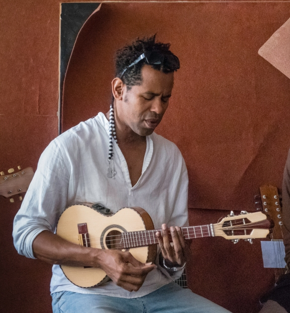 Luis Baptista playing morna in the downstairs of his atelier in Mindelo, São Vicente, Cape Verde (Cabo Verde)