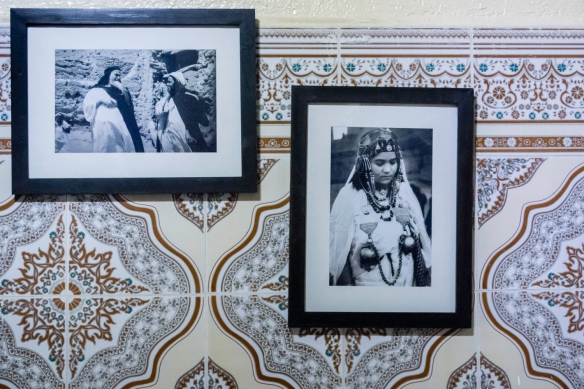 "Old photographs in the museum section of Slat el-Azama Synagogue (former classrooms), showing some of ""Les Juifs d_Atlas"" (The Jews of the Atlas Mountains), Hayel Mella (the old wa"