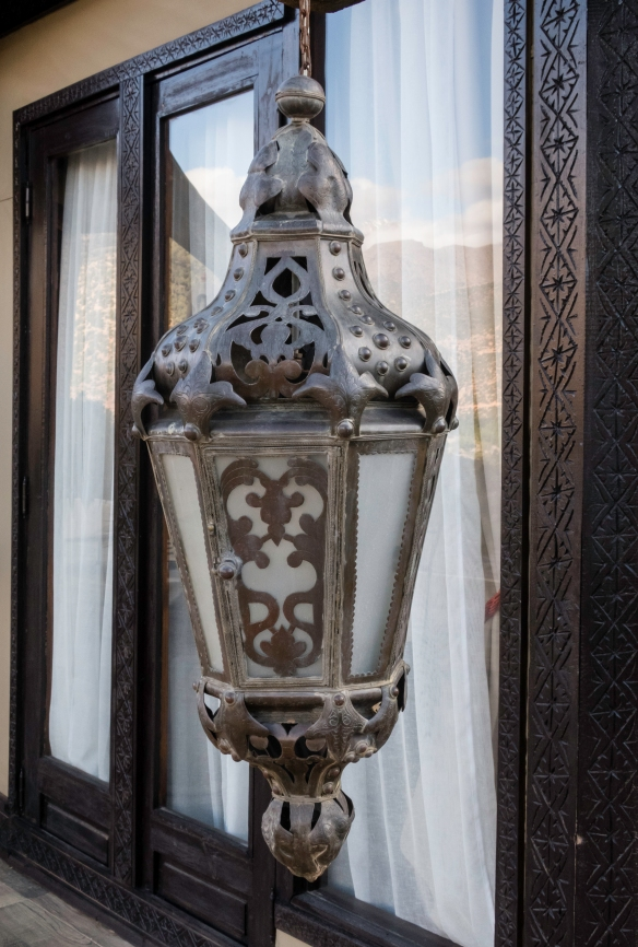 One of the exterior lamps on the verandah of our Berber tent at Kasbah Tamadot, Asni, High Atlas Mountains, Morocco