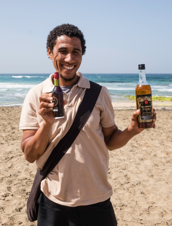 Our local guide, Delisio, had a surprise for us when we stopped at a beach to view the sand dunes – local grogue (rum) and local ponche (rum with molasses), both national drinks, along