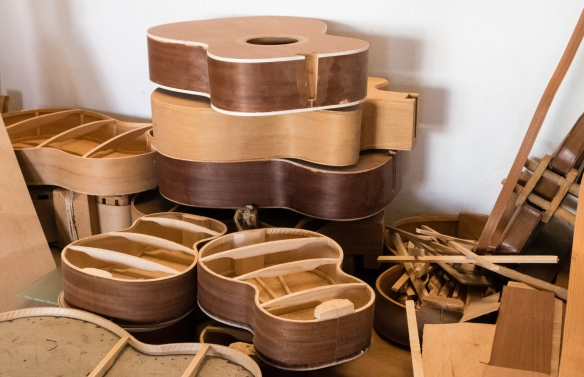 Partially constructed guitars and other stringed instruments in the atelier of Luis Baptista, Mindelo, São Vicente, Cape Verde (Cabo Verde)