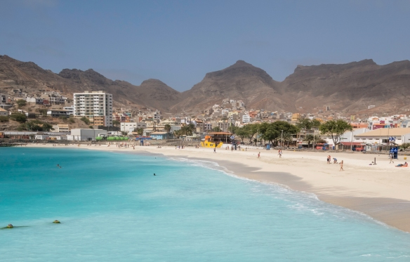 Praia da Laginha, adjacent to the cruise terminal docks, has spectacular azure-colored waters, Mindelo, São Vicente, Cape Verde (Cabo Verde)