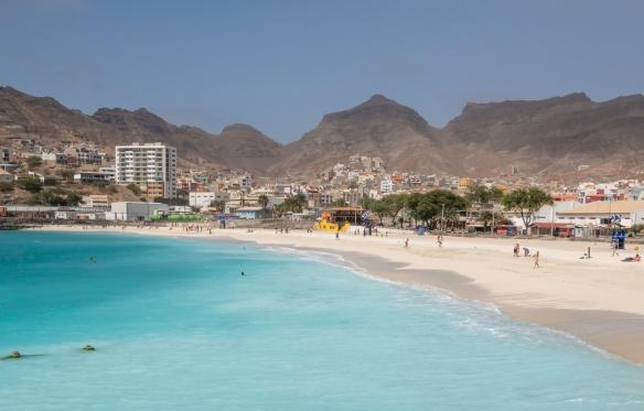 Praia da Laginha, adjacent to the cruise terminal docks, has spectacular azure-colored waters, Mindelo, São Vicente, Cape Verde (Cabo Verde)