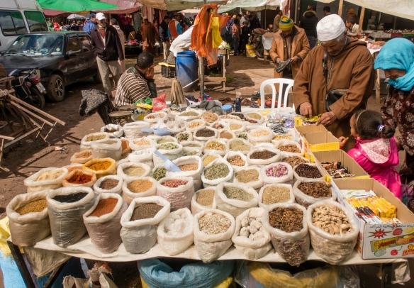 Spices and herbs vendor #1, Weekly Berber Market in Asni, High Atlas Mountains, Morocco