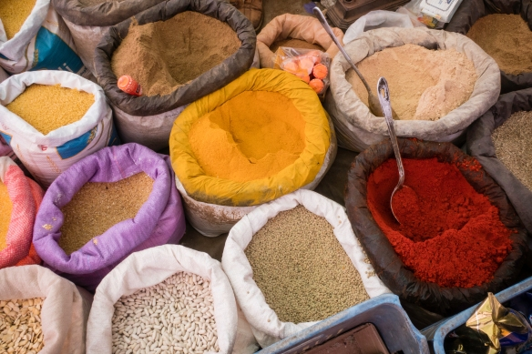 Spices and herbs vendor #3, Weekly Berber Market in Asni, High Atlas Mountains, Morocco