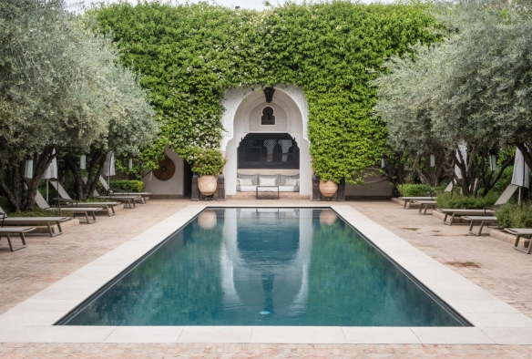 The 25-meter swimming pool was heated and offered a refreshing break each afternoon after our touring, Villa des Orangers, Marrakech, Morocco
