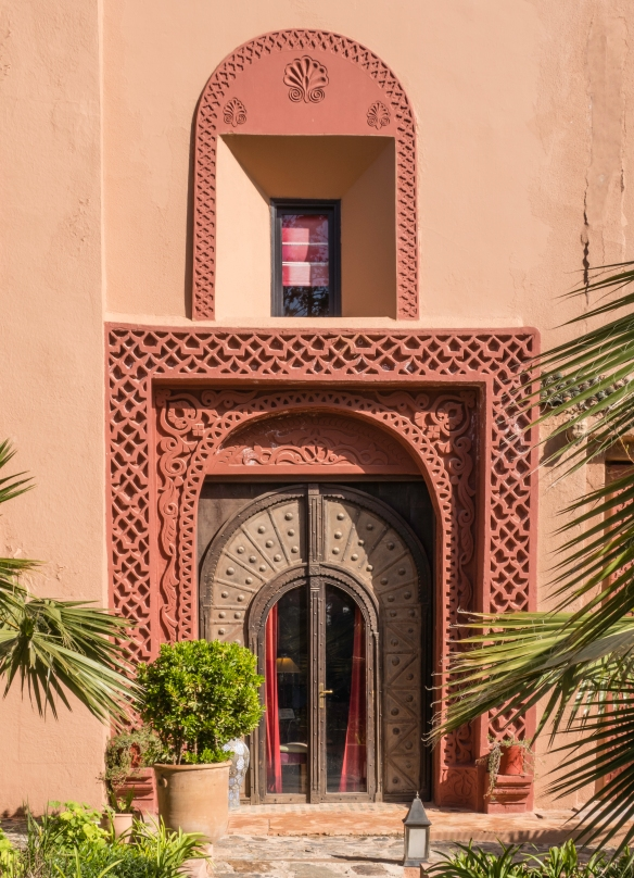 The architecture of Kasbah Tamadot reflects traditional Moroccan and Moorish (Andalusian) designs; Asni, High Atlas Mountains, Morocco