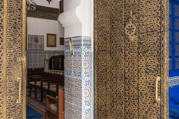 The entrance to the last remaining synagogue in Marrakech, Slat el-Azama Synagogue that dates back to 1492 and the Sephardic Jews fleeing Spain and the Inquisition after the expulsion or