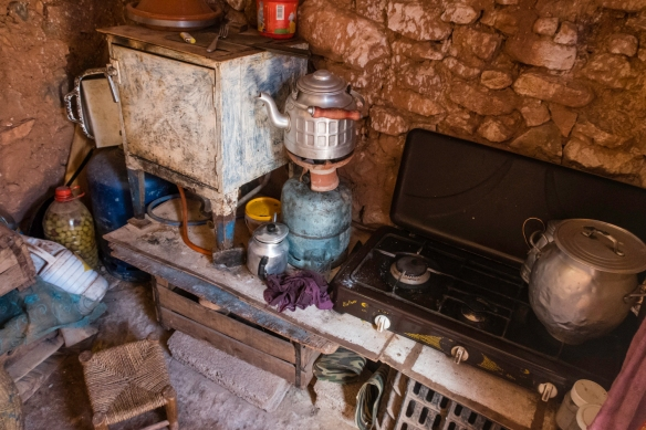 The kitchen (note how small it is) in our hostess_ home in the Berber village, Asni, High Atlas Mountains, Morocco