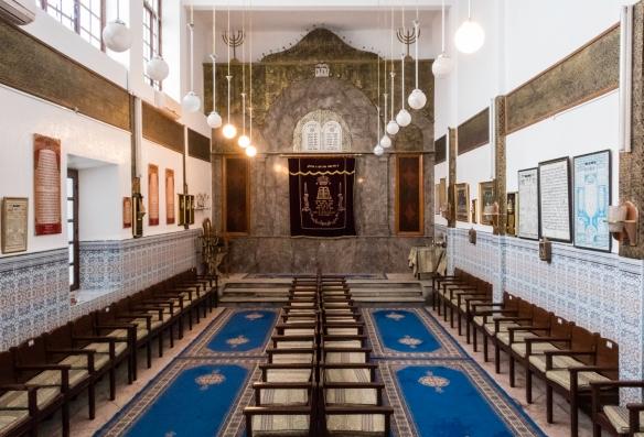 The main prayer room of Slat el-Azama Synagogue, Hayel Mella (the old walled Jewish quarter), Marrakech, Morocco