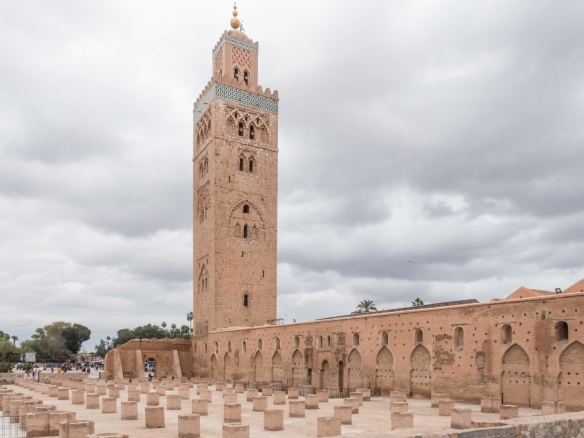 "The most visible ""landmark"" in Marrakech is the minaret of Koutoubia Mosque, 77 meters (253 feet) in height, including the spire which is topped by four globes, the highest of pure g"