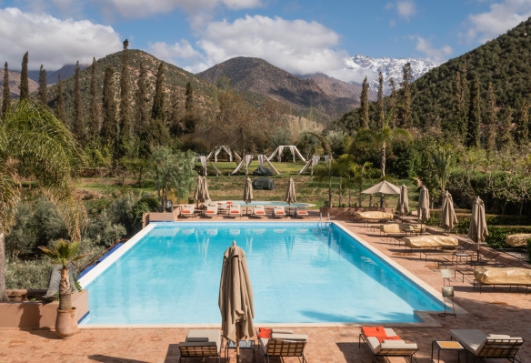 The setting for the resort_s swimming pool is pretty spectacular, Kasbah Tamadot, Asni, High Atlas Mountains, Morocco