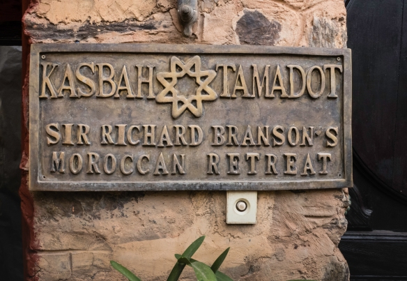 The sign by the front entrance, Kasbah Tamadot, Asni, High Atlas Mountains, Morocco