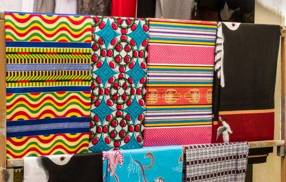 These colorful fabric were for sale in one of the stalls of the Africa Market in Mindelo, São Vicente, Cape Verde (Cabo Verde)