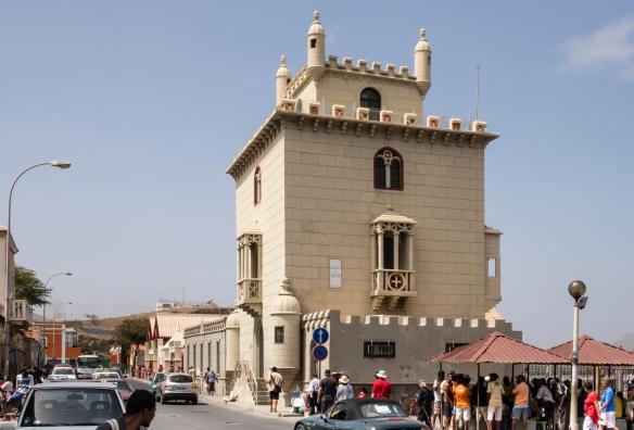 Torre de Belém – a quarter-size replica of the original tower in the river in Lisbon -- which houses a maritime museum, Mindelo, São Vicente, Cape Verde (Cabo Verde)