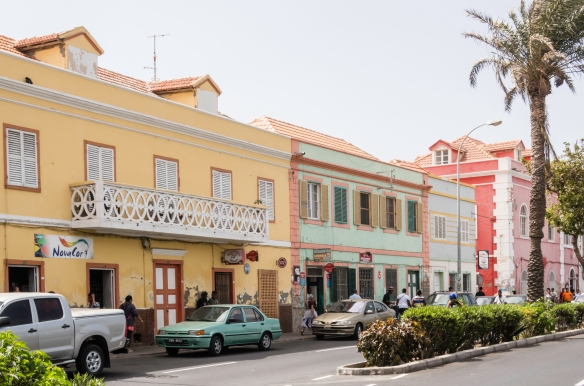 Typical retail stores in downtown Mindelo, São Vicente, Cape Verde (Cabo Verde)