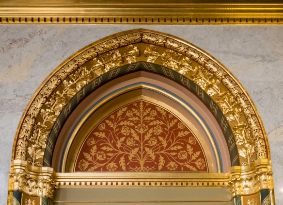 A close-up of an architectural detail in one of the many decorative hallways in the Hungarian National Parliament building, Budapest, Hungary