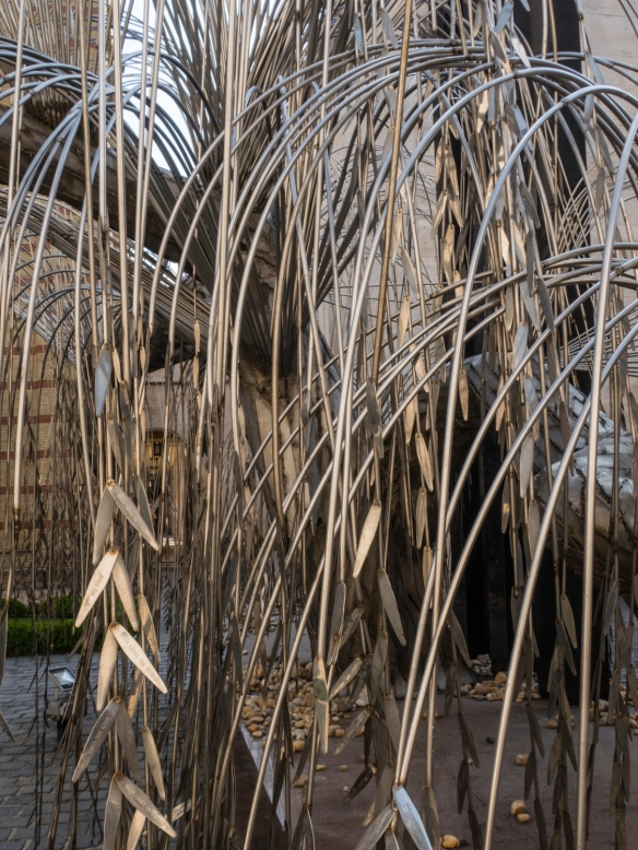 "A close-up of the ""weeping willow"" of the The Memorial of the Hungarian Jewish Martyrs whose leaves bear inscriptions with the names of some of the holocaust victims, Dohány Street"