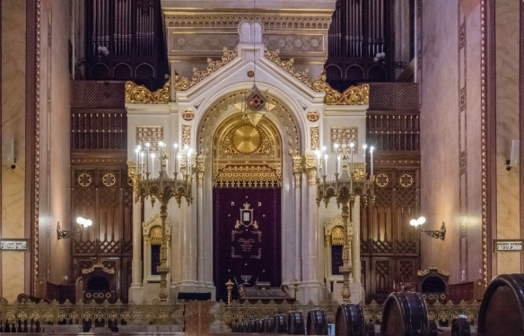 A close-up of the Torah ark in the Dohány Street Synagogue, Budapest, Hungary