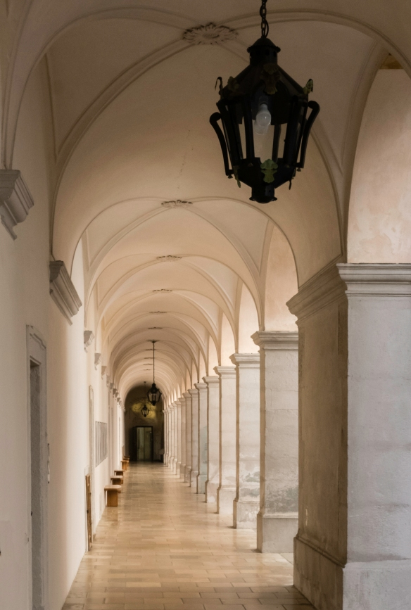 A colonnaded passageway in Melk Abbey, Melk, Austria