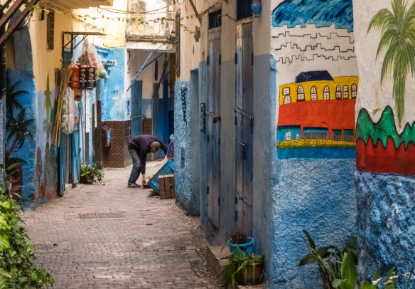 A colorful street in the Ancien Medina (Old Medina), Tangier, Morocco