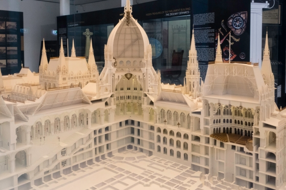 A cross-section scale model of the Hungarian National Parliament building showing the building_s dome (where the crown jewels are presently exhibited) and the unicameral legislature_