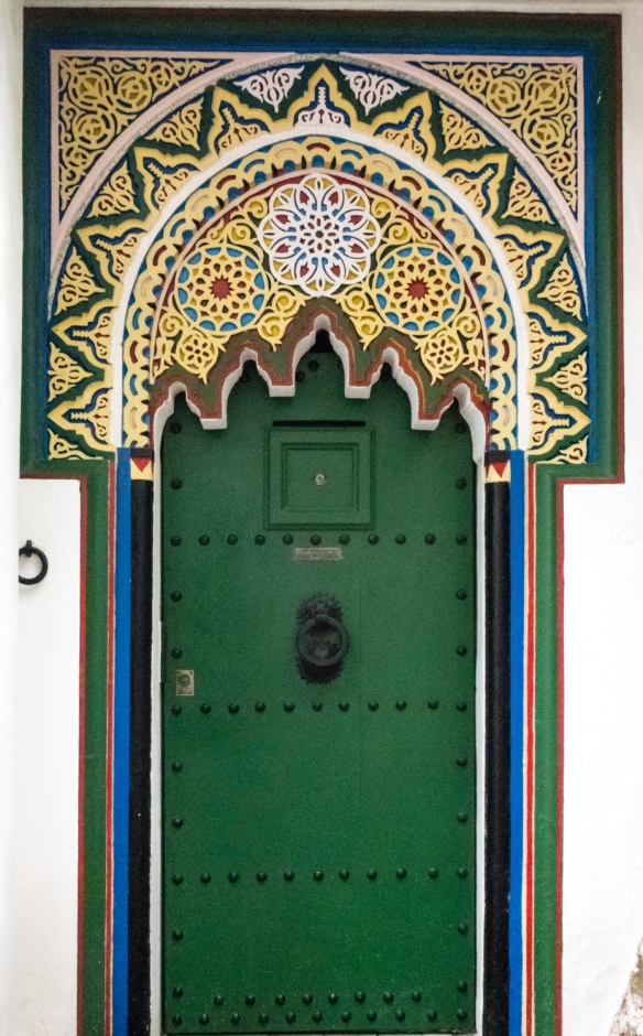 A door to the home where the writer William Burroughs lived in the Ancien Medina (Old Medina) in a back alley, Tangier, Morocco