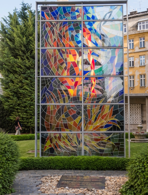 A stained glass memorial in the Raoul Wallenberg Holocaust Memorial Park in the rear courtyard of the Dohány Street Synagogue, Budapest, Hungary