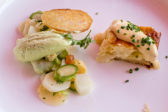 A standout dish at our luncheon at the Jamek Estate Winery, Joching, Austria, was scallops with fresh spring green asparagus with a side of potatoes