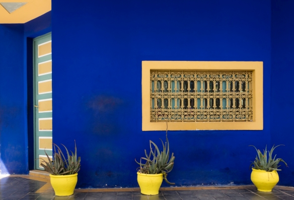 "A wall of the artist Jacques Majorelle_s studio (now a Berber Museum) painted in ""Majorelle blue"", designed in 1931 by architect Paul Sinoir; Jardin Majorelle (Majorelle Garden), Marra"
