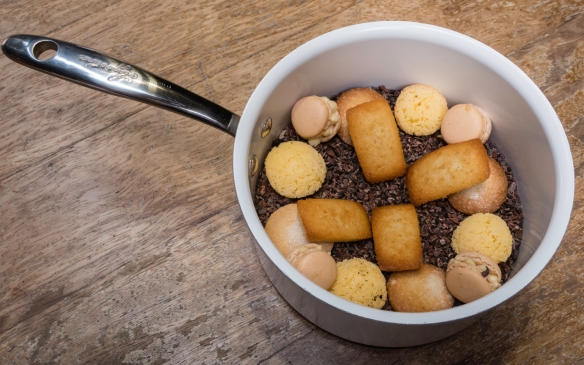 """Additionally, to end a fabulous meal, Petit Fours """"plated"""" cleverly in a cooking pot filled with cocoa nibs (served with tea, coffee, cappuccino), José Carlos Garcia Restaurante, M"""