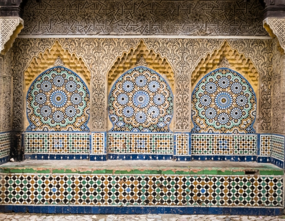 An elaborate wall with a Moorish design in the Ancien Medina (Old Medina), Tangier, Morocco