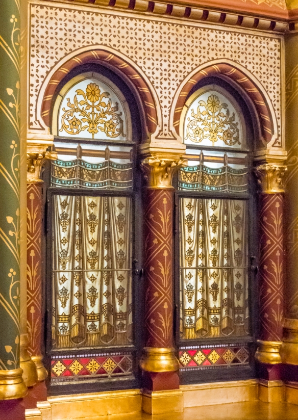 Architectural details in one of the many decorative hallways in the Hungarian National Parliament building, Budapest, Hungary
