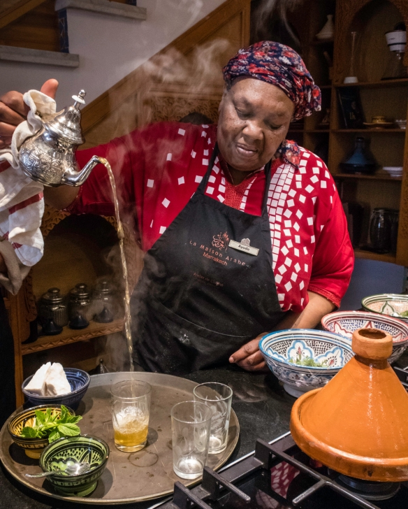 Ayada demonstrated the traditional Moroccan high pouring of mint tea, Cooking School, La Maison Arabe, Marrakech, Morocco