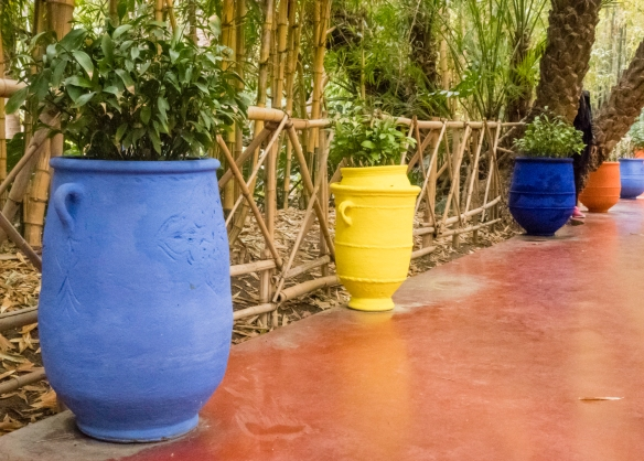 Boldly painted large ceramic urns filled with plants line the walkways in Jardin Majorelle (Majorelle Garden), Marrakech, Morocco