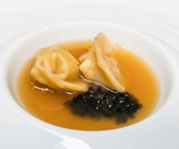 "Course #14 ""Tortellini – Beef consomme"" served with caviar, José Carlos Garcia Restaurante, Málaga, Spain"