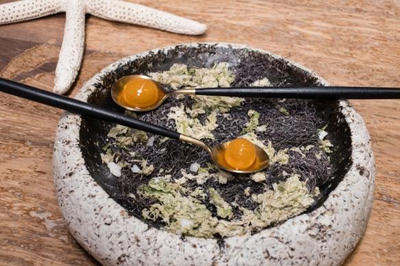 """Course #5 """"Sea urchin – Guava"""" (really sea urchin in a guava """"skin""""), José Carlos Garcia Restaurante, Málaga, Spain"""