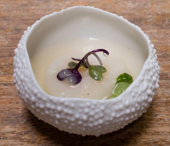 """Course #9 """"Scallop – Dashi-Appel"""" where the Japanese-style dashi was made with tuna, José Carlos Garcia Restaurante, Málaga, Spain"""