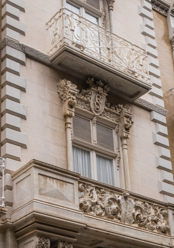Details of an Art Nouveau townhouse on Calle Mayor, the city_s main shopping street, Cartagena, Spain