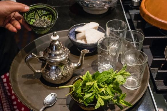 For a break, we enjoyed properly prepared fresh Moroccan mint tea, Cooking School, La Maison Arabe, Marrakech, Morocco