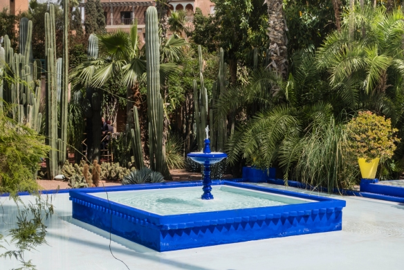 Fountains in the Jardin Majorelle (Majorelle Garden) were designed to introduce soothing sounds that contrast with the noise of the busy city outside the walls of the garden; Marrakech,