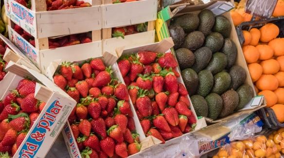Fresh strawberries were very ripe and sweet, Mercado Atarazanas, Málaga, Spain