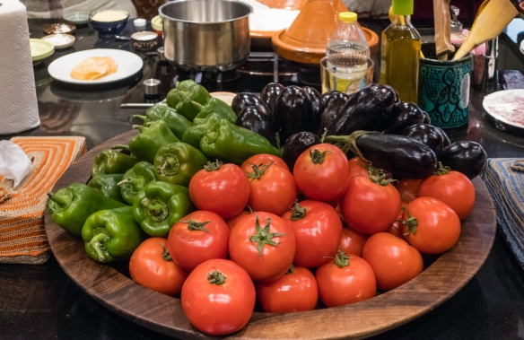 Fresh tomatoes, peppers and eggplants for our dishes at the Cooking School, La Maison Arabe, Marrakech, Morocco